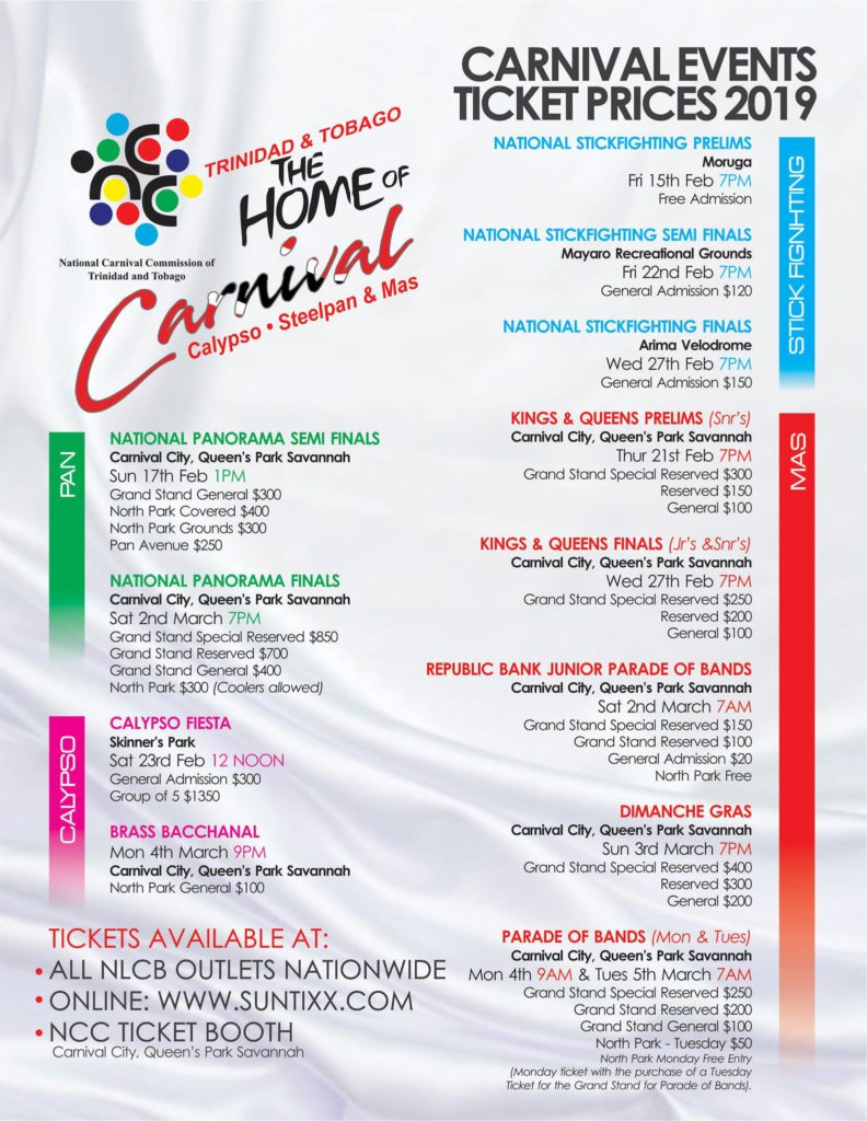 NCC Carnival 2019 events prices